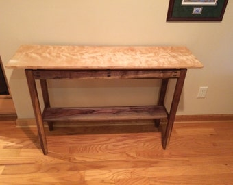 Walnut and flame birch hall table