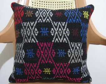 16 x 16 Plant Dyed Multi Color Vintage Turkish Kilim Rustic Pillow Bohemian Pillow Modern Home Decor Ethnic Pillow Cultural Pillow