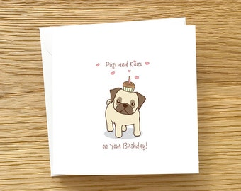 pug birthday cards  etsy, Birthday card