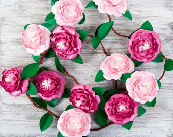 Handmade wedding camellia garland with  paper flowers