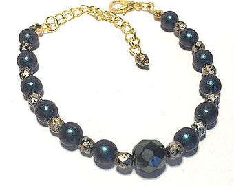 Bracelet Pearl blue night fall