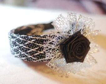 Black and silver kanzashi rose headband