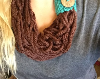 Hand Knitted Scarf With Removeable Band