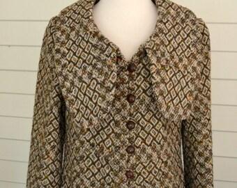 1970s Vintage Woven Wool Coat, Size 6/8