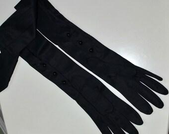 Vintage Black Opera Gloves, Size XS