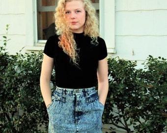 Vintage 80's Cherokee Acid Wash Denim Skirt