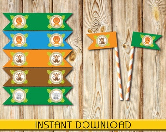 "Straw, Toothpick Flags, Safari Animals, Baby Shower, Birthday, Instant Download, DIY, Printable, 2""x 1"" folded, PDF"