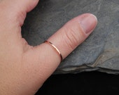 Thumb ring, 14k Rose Gold filled ring, thin ring, hammered, 1.2mm ring, made at your size. Skinny ring, thin ring, stacking ring.