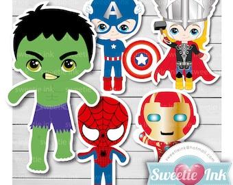 Super heroe  Clipart Digital - hulk - spiderman - captain america - ironman - thor