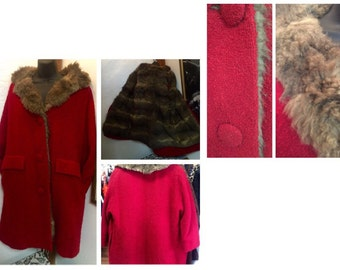 Coat, jacket, Vintage, retro, boho, glamour, red, fur lined, trending, madmen, boucle wool fur lined coat 1960