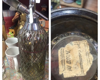 Industrial, vintage, retro, home decor, English Sparklet soda syphon seltzer bottle, man cave