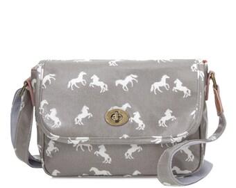 Oilcloth Crossbody Horse bag- Horse print - Ladies Purse - Ladies Handbag- Horse Satchel bag - Oil cloth Turnlock bag - Laminated cotton