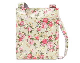 Oilcloth Crossbody bag - Pink Rose - Ladies Purse - Ladies Handbag - Shabby Chic Satchel - Oilcloth bag - Oil cloth bag - Laminated cotton