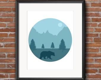 Mountain Nursery - Woodland Nursery - Mountain Print - Mountain Nursery Art - Nursery Decor - Bear Nursery - Bear Nursery Art - Bear Print
