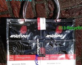 Handbag/Handtas recycled Coffeebags/Koffiezakken_04_type Miofino_BlackBraunWhite with images/ZwartBruinWit met print