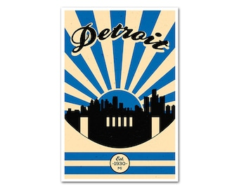 Detroit Michigan Football Poster with a Vintage Look
