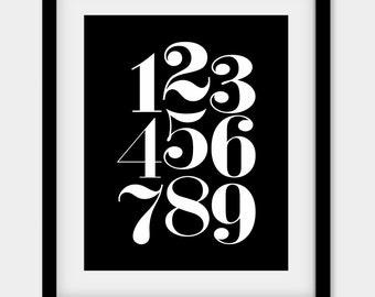 """50% OFF Nursery Numbers Print, Nursery Wall Art, Scandinavian Print, Large Print 16x20"""", Nursery Numbers Wall Decor, Baby Room Printable Art"""