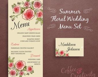 Floral Printable Wedding Menu Set