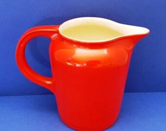 "Vintage Red Ceramic Pitcher ""Cherrytone"" Universal Cambridge"