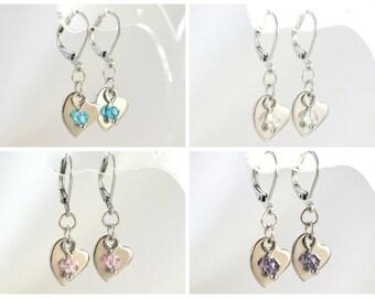 Heart dangles, Heart earrings, Glass bead earrings, Her gift, Girls gift, Mom gift, Silver heart earring, Hypoallergenic, Under 10 dollars