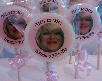 Hen Do Favours, Miss to Mrs, Personalised Favours, Hen Night Gifts, Photo Lollipops, Bride to be, Image Lollies, Lollipops, Goody Bag Gifts