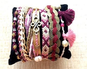 Brazilian case pink, Burgundy and gold Cuff Bracelet