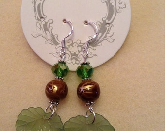 Green Leaf Dangles on Sterling Silver Ear Wires