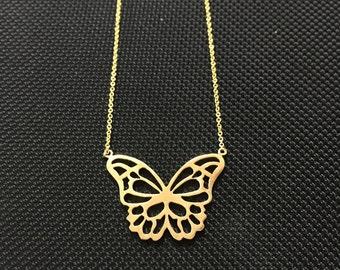 14 K gold Butterfly Pendant