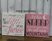 She is Fierce/Move Mountains/2 sign set/Baby Sign/Fox/Child Sign/Gift/Shower Gift/Decor/Girl/Wood Sign/PinkGray/Green/Free Shipping