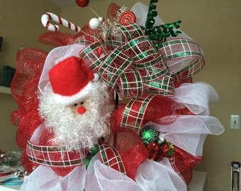 Santa Poly Mesh Wreath