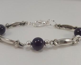 Amethyst Bracelet, Sterling Silver, 8 Inch