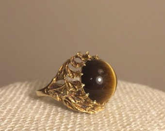 14 K Gold Tigers Eye Dome ring