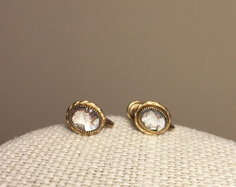 Antique Cameo Screwback earrings made of 12K GF and Albalone Shell