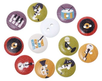 15 Wooden Musical Pattern Buttons 15mm, Round Painted Button, 2 Hole Music Button, Wooden Mixed Button, Scrapbooking, Craft Supplies UK I221