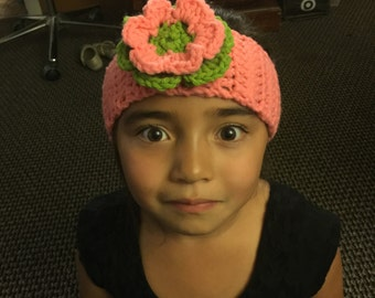 Pink and Green Crochet Headband with Buttons