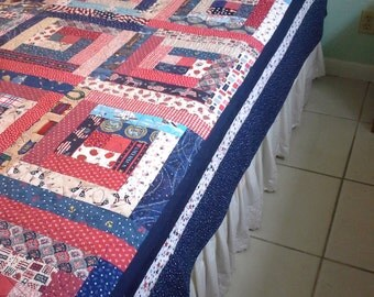 Patriotic Jubilee Queen Quilt, Red White and Blue Quilt