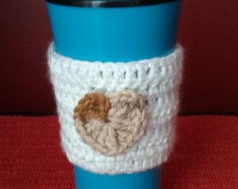 White Cup Sleeve, Cup Cozy,Mug Cozy