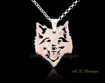Sterling Silver Keeshond Necklace, Keeshond Pendant, Keeshond Necklace, Keeshond Dog, Keeshond Gift, Dog necklaces, Dog Pendants