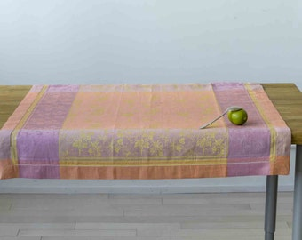 Colorful Jacquard Small Tablecloth or Luxurious Bath Towel - 50/50 Linen Cotton Blend