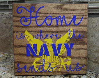 "Wooden Sign, ""Home is..."" Navy"
