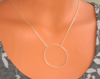Karma Circle Large.....Sterling Silver, Eternity, Statement Necklace
