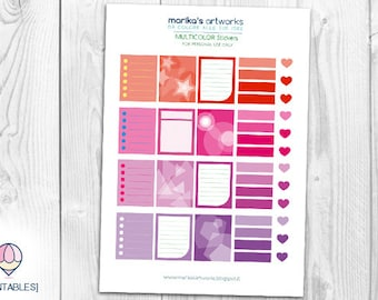 Color Stickers Red&Purple | A4 Pdf INSTANT DOWNLOAD | Printable file