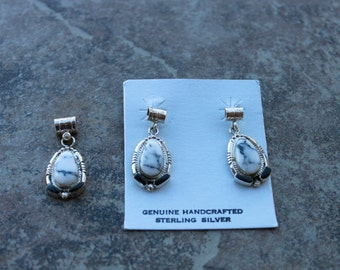 White Buffalo Turquoise Necklace and Earrings in Sterling Silver