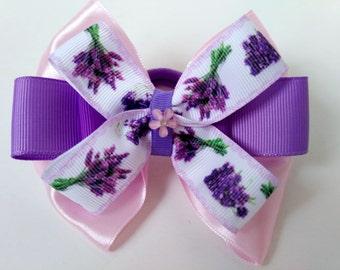 Lilac hair bow -  lavender hair bow-  Provence- Lavender- Hair elastics