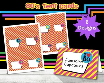 80's Tent Cards, 80s Party, 80s Printable Food Labels