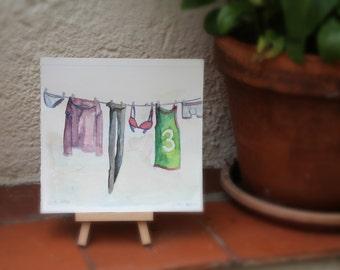 Clothes line. Original watercolor