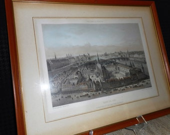 Vintage Framed Print of Paris in 1650
