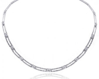 4.50 Carat Diamond Rectangular and Cluster Link Chain 14K White Gold Necklace