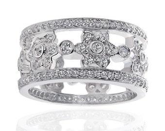 14K White Gold Designer Antique Eternity Wedding Ring 2.00 ctw