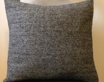 Harris Tweed Charcoal Herringbone Cushion Cover - 40x40cm